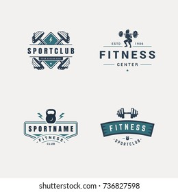 set of fitness badges with sport equipment and people. Labels in vintage style with sport silhouette symbols.