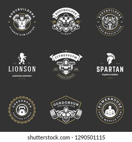 Set fitness center and sport gym logos and badges design vector illustration. Retro typographic labels with sport equipment signs and silhouettes.