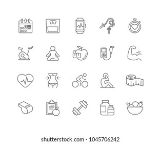 Set of Fitness and Healthy outline icons isolated on white background.