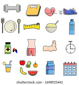 Set of fitness icons , diet, exercise, and health care.