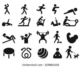 Set of Fitness icons, set of sport icon  isolated vector illustration on white transparent background.