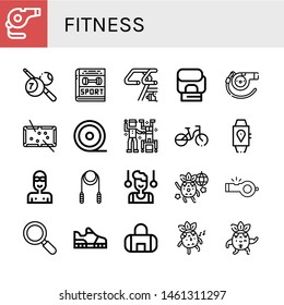 Set of fitness icons such as Whistle, Billiard, Sport, Bike, Boxing gloves, Pool, Medical tape, Dance, Bicycle, Smartwatch, Swimmer, Skipping rope, Gymnast, Dancing , fitness