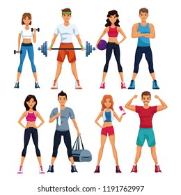 Set of fitness people