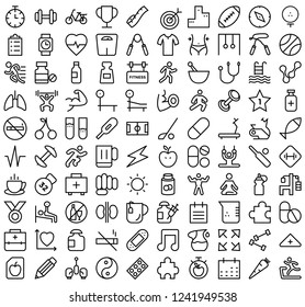 Set of Fitness related line vector Icons