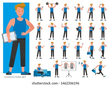 Set of Fitness trainer character vector design. Man dressed in sports clothes. Presentation in various action with emotions, running, standing and walking.