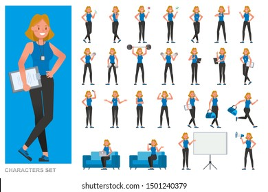 Set of Fitness trainer woman character vector design. Woman dressed in sports clothes. Presentation in various action with emotions, running, standing and walking.