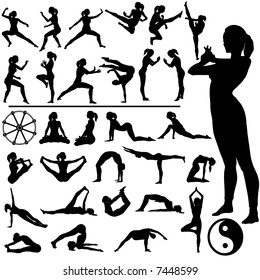 Set of fitness women exercise, do martial arts and yoga, in a group of silhouettes, with Eastern, Buddhist symbols.