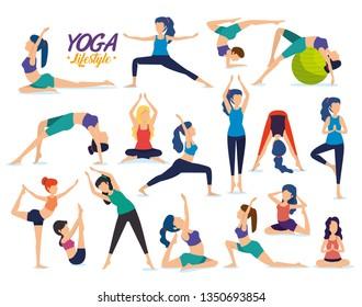 set fitness women practice yoga posture