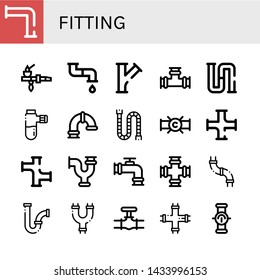 Set of fitting icons such as Pipe, Piping, Pipes , fitting