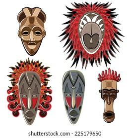 Set of five African masks. African masks. Vector set