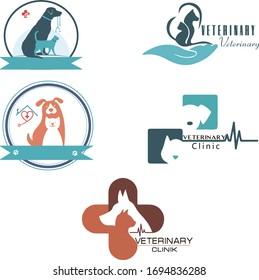 Set of five animal logos. animal clinic. zoo logo