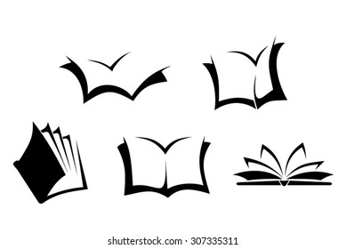 Set of five black silhouettes of books on a white background. Vector illustration.