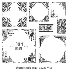 Set of five borders with tribal art boho hand drawn geometric patterns. Ethnic print  in black and white style. Frames for greeting card, invitations and other