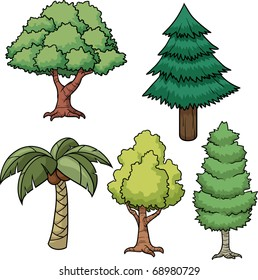 A set of five cartoon trees. All in separate layers for easy editing.