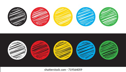 Set of five circles on white and black background