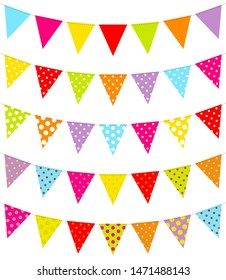 Set Of Five Colorful Pennants Dots Pattern