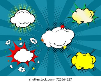 Set of five comic style clouds with background in rays. Vector art