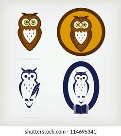 A set of five creative owls