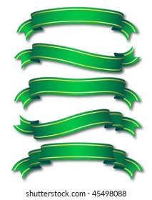 set of five curled green ribbons with golden stripe