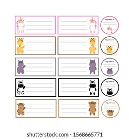Set of five cute animal stickers / name tags (unicorn, giraffe, hippopotamus, zebra, monkey) isolated on a white background