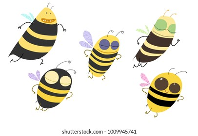 Set of five cute busy bees, flying, running, jumping somewhere. Vector cartoon illustration.