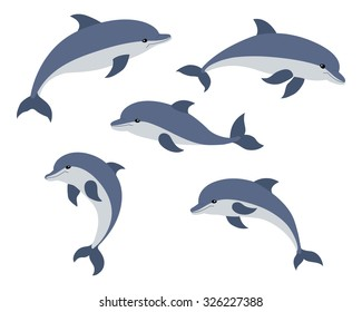 Set of five cute dolphins. Vector illustration.
