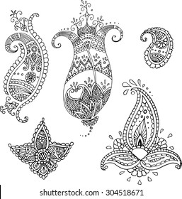 Set of five decorative paisley templates for design or mendie