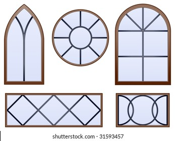 Set of five decorative vector windows with beveled glass