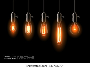 A set of five different lamps of Edison, weigh on the wires. On black background. For Your design, bars, cafes, restaurants, pubs, cafeteria.