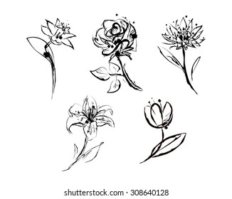 Set of five elegant sketches with flowers