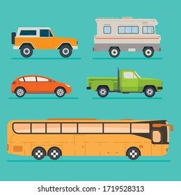 Set of five flat style vehicles : suv, van, pickup, hatchback, bus. Colorful cars collection.