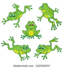 Set of five funny little frogs in cartoon style sitting and jumping on white background.