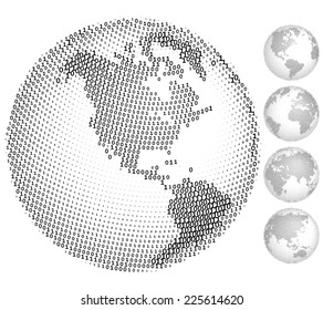 A set of five globes consisting of binary codes. Eps8. CMYK. Organized by layers. Global color. Gradients free.