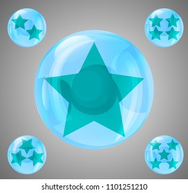 a set of five glossy balls with stars from one to five stars
