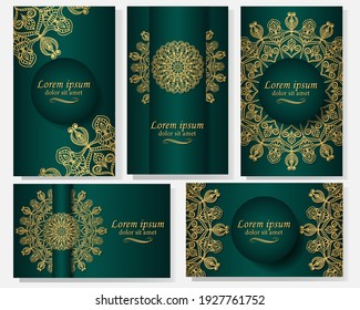 Set of five gorgeous green backgrounds with gold mandala image . Ethnic ornament on invitation, envelope, poster, cover, label.