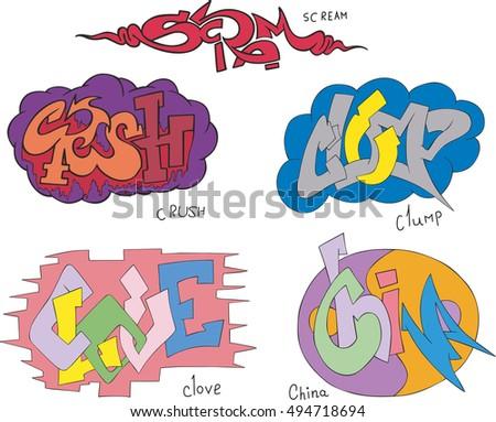 Set of five graffiti sketches scream crush clump clove and china