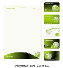 Set of five green planet business cards and stationery sheet. Global Swatches Included.