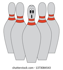 A set of five grey-colored bowling pins with one pin at the center being dismayed All the pins with red dual stripes around the neck vector color drawing or illustration