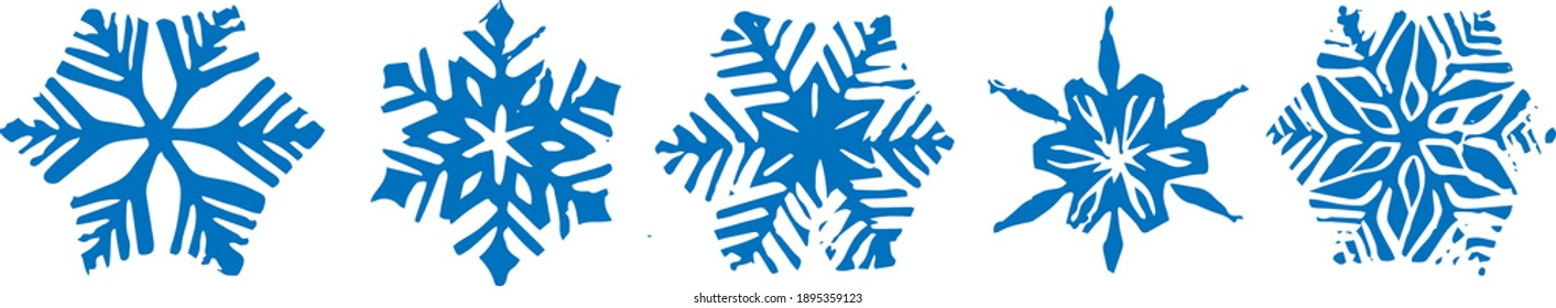 Set of five hand carved linocut snowflakes. Isolated vector winter illustration. Stamps for seasonal wrapping paper or textile
