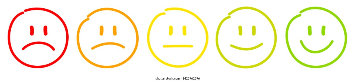 Set Of Five Handdrawn Outline Colorful Faces Different Moods