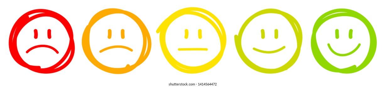 Set Of Five Handdrawn Outline Faces Different Moods Color
