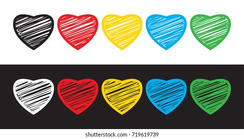 Set of five hearts on white and black background