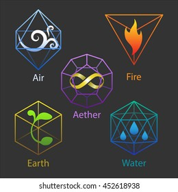 Set of five icons: elemental symbols of air, fire, earth, water, aether inside platonic bodies.