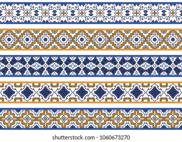 Set of five illustrated decorative borders made of abstract elements in white, yellow, blue and black