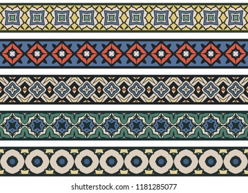 Set of five illustrated decorative borders made of abstract elements in beige, green, red, blue, yellow, green and black