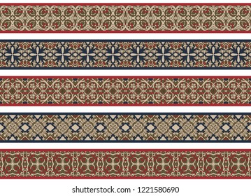 Set of five illustrated decorative borders made of abstract elements in beige, brown, red and blue