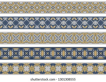 Set of five illustrated decorative borders made of abstract elements in light gray, blue and yellow