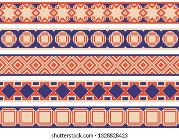 Set of five illustrated decorative borders made of abstract elements in beige, blue and red