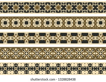 Set of five illustrated decorative borders made of abstract elements in beige, brown and black