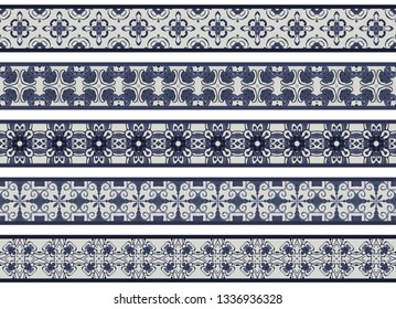 Set of five illustrated decorative borders made of abstract elements in light gray and shades of blue